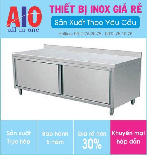 13 ban inox co hoc tu 510x541 - Bàn sơ chế inox có tủ