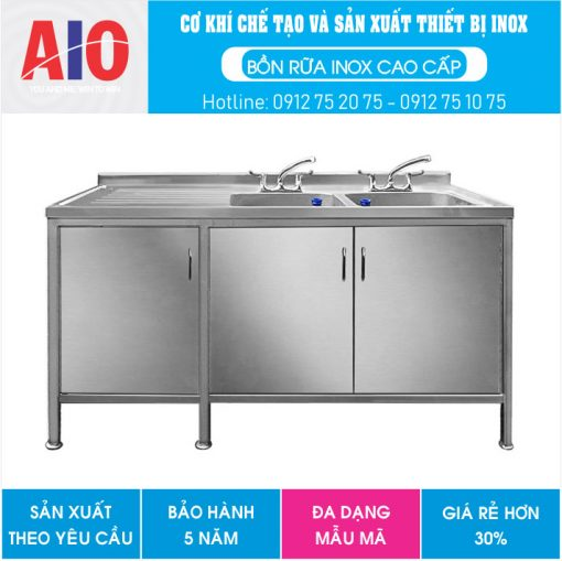 30 tu inox chau rua doi phai aiojsc.com  510x509 - Tủ rửa chén bát chậu đôi