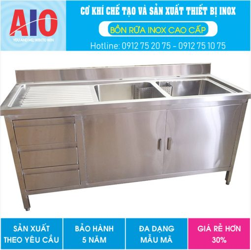 41 tu inox cao cap co 2 bon rua aiojsc.com  510x509 - Tủ inox sử dụng 2 bồn rữa công nghiệp
