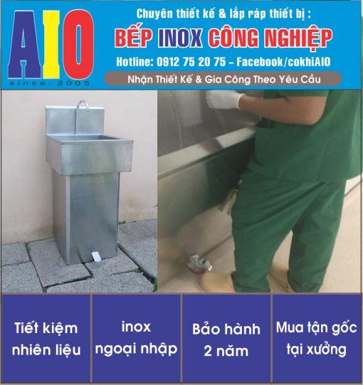 bon rua inox dapchan 510x541 - Bồn rửa tay đạp chân