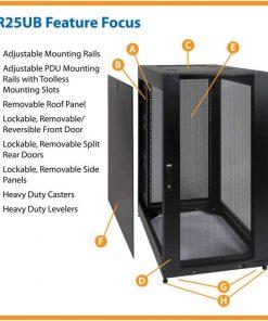 tu rack mang 25u 247x296 - Tủ rack mạng thông minh 25u với cửa và cánh bên