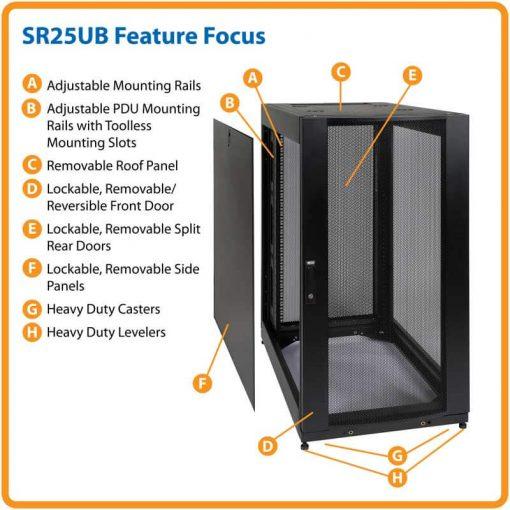 tu rack mang 25u 510x510 - Tủ rack mạng thông minh 25u với cửa và cánh bên
