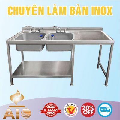 ban inox co bon rua 400x400 - Bàn chế biến thực phẩm inox