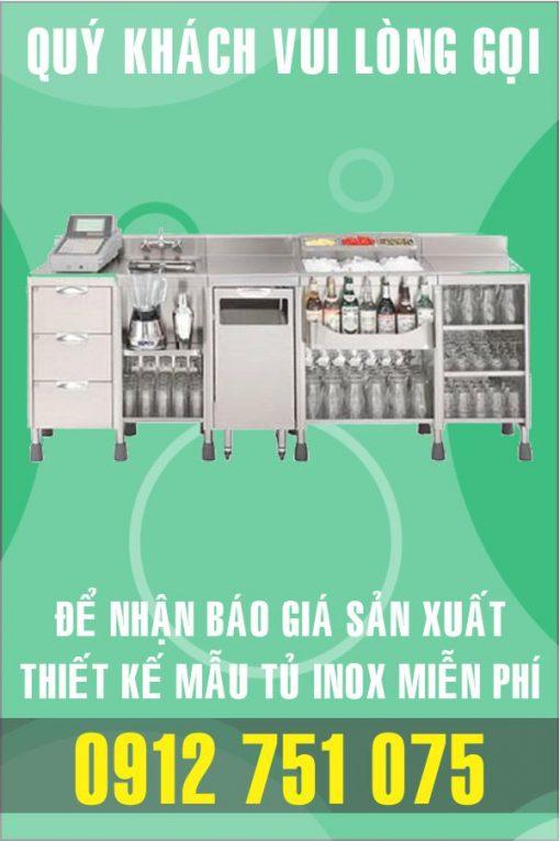 quay bar pha che inox 510x766 - Tủ bán trà sữa inox
