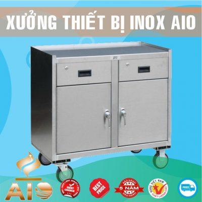 tu inox co banh xe 400x400 - Tủ giường bệnh inox