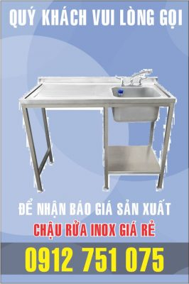 bon rua inox co ban trai 266x400 - Bồn rửa inox có bàn chờ phải