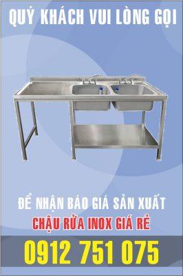 bon rua inox doi co ban trai 266x400 - Bồn rửa inox có bàn chờ phải