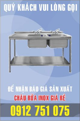 bon rua inox doi gia re 266x400 - Bồn rửa inox có bàn chờ phải