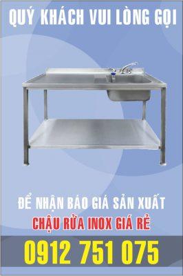 bon rua inox don co ban trai 266x400 - Bồn rửa inox có bàn chờ phải
