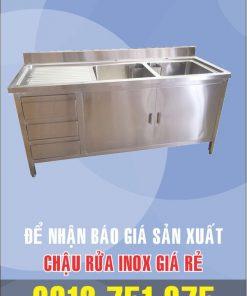 bon rua inox gia si 247x296 - Chậu rữa inox có tủ bên trái và bàn sơ chế