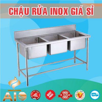chau rua inox 3 chau 400x400 - Bồn rửa inox có tủ