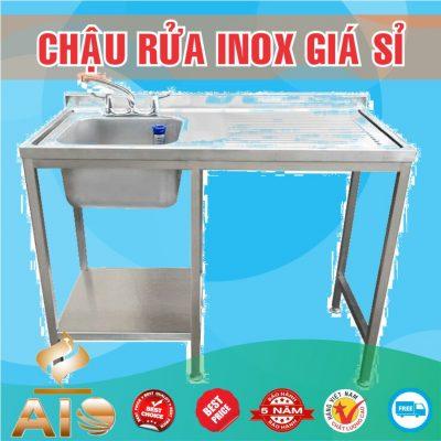 chau rua inox co ban 400x400 - Bồn rửa inox có bàn chờ phải