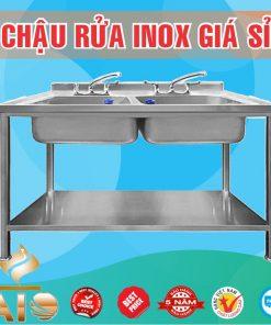 chau rua inox doi 247x296 - Tủ rửa chén inox 2 bồn rữa, 5 hộc kéo bên trái