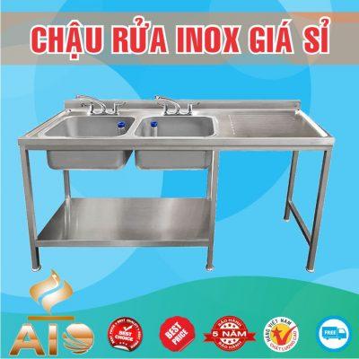 chau rua inox doi ban cho 400x400 - Bồn rửa inox có bàn chờ phải