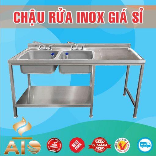chau rua inox doi ban cho 510x510 - Bồn rửa inox có bàn chờ phải