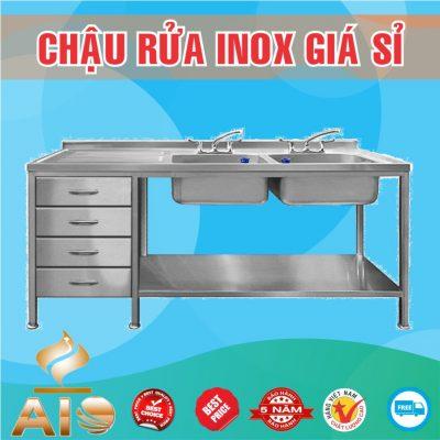 chau rua inox doi co tu 400x400 - Xưởng sản xuất chậu inox