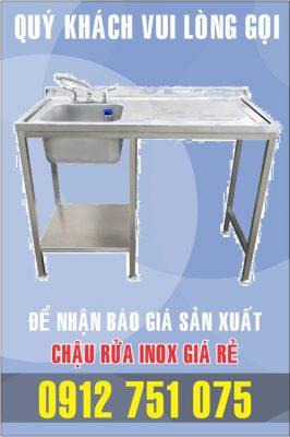 lam bon rua inox 266x400 - Bồn rửa inox có bàn chờ phải