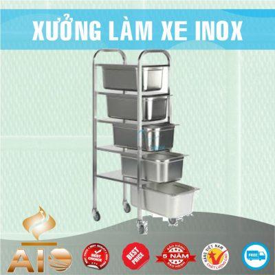 lam xe inox gia re 400x400 - Xe đẩy nhiều khay dùng trong ngành thực phẩm