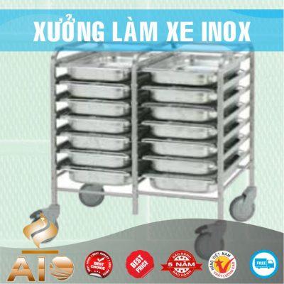 xe day co khay 400x400 - Xe đẩy nhiều khay dùng trong ngành thực phẩm