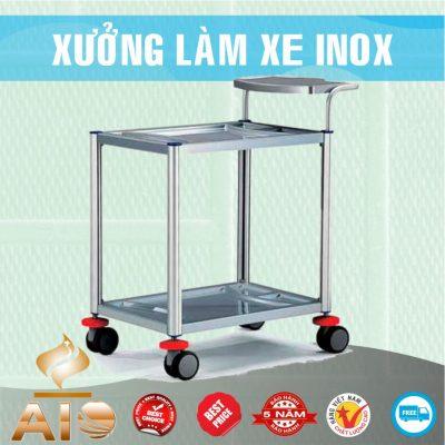 xe day inox 2 tang 400x400 - Xe đẩy nhiều khay dùng trong ngành thực phẩm