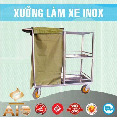 xe day thuc pham co thung rac 400x400 - Xe đẩy inox dùng trong nhà hàng