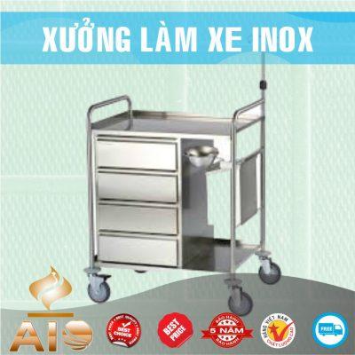 xe inox y te 400x400 - Xe đẩy nhiều khay dùng trong ngành thực phẩm