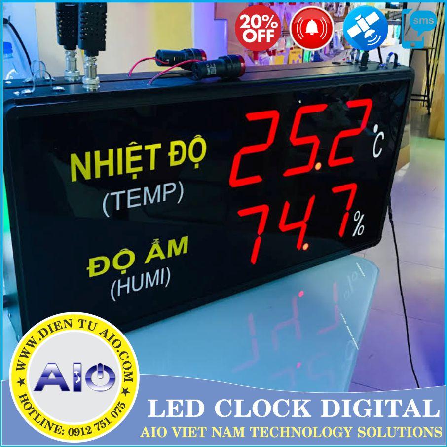 man hinh led hien thi nhiet do do am - Đồng hồ led điện tử dùng trong nhà xưởng
